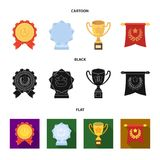 An Olympic medal for the first place, a crystal ball, a gold cup on a stand, a red pendant.Awards and trophies set. Collection icons in cartoon,black,flat style Royalty Free Stock Photo