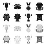 An Olympic medal for the first place, a crystal ball, a gold cup on a stand, a red pendant.Awards and trophies set. Collection icons in black,monochrome style Royalty Free Stock Photos