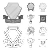 An Olympic medal for the first place, a crystal ball, a gold cup on a stand, a red pendant.Awards and trophies set. Collection icons in outline,monochrome style Stock Photo