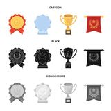 An Olympic medal for the first place, a crystal ball, a gold cup on a stand, a red pendant.Awards and trophies set. Collection icons in cartoon,black,monochrome Royalty Free Stock Photos