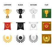An Olympic medal for the first place, a crystal ball, a gold cup on a stand, a red pendant.Awards and trophies set. Collection icons in cartoon,black,outline Stock Photo