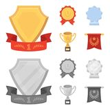 An Olympic medal for the first place, a crystal ball, a gold cup on a stand, a red pendant.Awards and trophies set. Collection icons in cartoon,monochrome style Royalty Free Stock Photos
