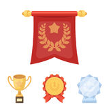 An Olympic medal for the first place, a crystal ball, a gold cup on a stand, a red pendant.Awards and trophies set. Collection icons in cartoon style vector Royalty Free Stock Images