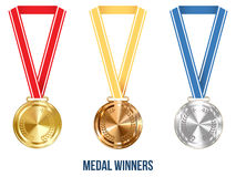 Olympic Medal with Ribbon Set, Vector Illustration Royalty Free Stock Images
