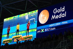 Olympic medalist of 100m sprint run at Rio2016. Screen with Olympic medalist of 100m sprint run at Rio2016 with Jamaican Usain Bolt, American Justin Gatlin, and Stock Image