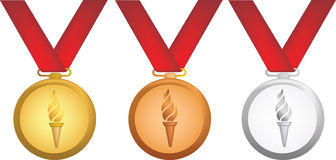Olympic medals. Simple icon style illustration of olympic medals Royalty Free Stock Photos