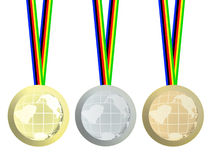 Olympic medals. On white background stock illustration