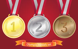 Olympic medals set - gold, silver, bronze Royalty Free Stock Photography