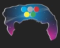 Olympic moons. The marmot looks at the sky and sees five Olympic moons. Vector format Stock Photos