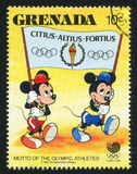 Olympic motto. GRENADA - CIRCA 1988: stamp printed by Grenada, shows Olympic motto, circa 1988 Royalty Free Stock Photo