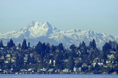Olympic Mountain Range. The Olympic Mountain Range and Lake Washington from Kirkland, WA Royalty Free Stock Images