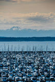 Olympic Mountain Range from Seattle Shore Royalty Free Stock Photos