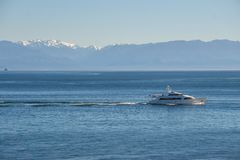 Olympic Mountains And Boat Marina In Puget Sound Washington State Stock Photography