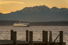The Olympic Mountains and Ferry Boats Royalty Free Stock Image