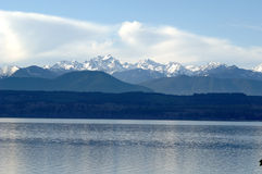 Olympic Mountains in Winter. View of the Olympic Mountains on a sunny winter day Stock Photo