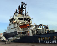 Olympic Octopus tug/supply vessel moored in Aberdeen Harbour, Sc Stock Photography