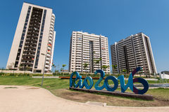 Olympic and Paralympic Village with Rio 2016 sign Royalty Free Stock Photos