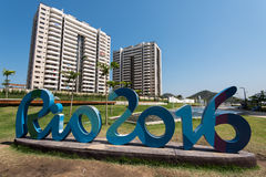 Olympic and Paralympic Village with Rio 2016 sign Stock Images