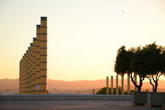 Olympic park in Barcelona at sunset Stock Photos