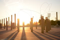 Olympic park in Barcelona at sunset Royalty Free Stock Image