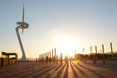Olympic park in Barcelona at sunset, television tower Stock Photography