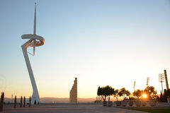 Olympic park in Barcelona at sunset, television tower Stock Photos