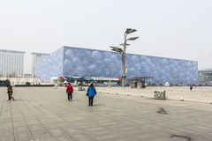 Olympic park, beijing. BEIJING, CHINA-25th MARCH 2014:-The cube, the iconic building from the 2008 Beijing olympics, home to water events, swimming, diving and Stock Photography