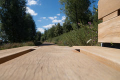 Olympic park bench. View from a wooden park bench in the Queen Elizabeth olympic park, Stratford, in summer Stock Photos