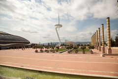 Olympic Park Montjuic, Barcelona, Spain. The Olympic Park of 1992 and the telecommunications tower, the Torre Telefonica, designed by Santiago Calatrava on the Stock Photography