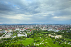 Olympic Park Munich. MUNICH, GERMANY - MAY 6, 2017 : The Olympic Park Munich with the city in the background viewed from the Olympic Tower in Bavaria, Germany Stock Photo