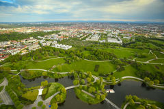 Olympic Park Munich. MUNICH, GERMANY - MAY 6, 2017 : The Olympic Park Munich with the city in the background viewed from the Olympic Tower in Bavaria, Germany Stock Images