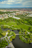Olympic Park Munich. MUNICH, GERMANY - MAY 6, 2017 : The Olympic Park Munich with the city in the background viewed from the Olympic Tower in Bavaria, Germany Royalty Free Stock Photography