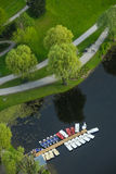 Olympic Park Munich. MUNICH, GERMANY - MAY 6, 2017 : Lined up boats on the lake of the Olympic Park Munich viewed from the Olympic Tower in Bavaria, Germany. The Stock Image