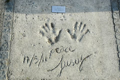 Olympic Park in Munich. MUNICH, GERMANY - MAY 6, 2017 : A view of Cat Stevens handprints and signature in concrete at the Munich Olympic Walk Of Stars in Olympic Royalty Free Stock Photos