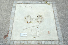 Olympic Park in Munich. MUNICH, GERMANY - MAY 6, 2017 : A view of James Blunt handprints and signature in concrete at the Munich Olympic Walk Of Stars in Olympic Stock Image