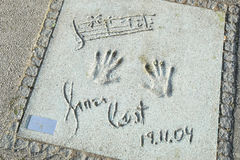 Olympic Park in Munich. MUNICH, GERMANY - MAY 6, 2017 : A view of James Last handprints and signature in concrete at the Munich Olympic Walk Of Stars in Olympic Royalty Free Stock Photos