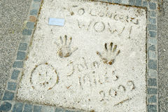 Olympic Park in Munich. MUNICH, GERMANY - MAY 6, 2017 : A view of John Miles handprints and signature in concrete at the Munich Olympic Walk Of Stars in Olympic Royalty Free Stock Photography