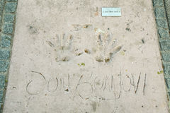Olympic Park in Munich. MUNICH, GERMANY - MAY 6, 2017 : A view of Jon Bon Jovi handprints and signature in concrete at the Munich Olympic Walk Of Stars in Stock Photography