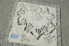 Olympic Park in Munich. MUNICH, GERMANY - MAY 6, 2017 : A view of the Kiss group members handprints and signature in concrete at the Munich Olympic Walk Of Stars Stock Photography