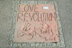 Olympic Park in Munich. MUNICH, GERMANY - MAY 6, 2017 : A view of Lenny Kravitz handprints and signature in concrete at the Munich Olympic Walk Of Stars in Royalty Free Stock Images