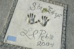 Olympic Park in Munich. MUNICH, GERMANY - MAY 6, 2017 : A view of Lionel Richie handprints and signature in concrete at the Munich Olympic Walk Of Stars in Stock Photo