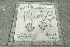Olympic Park in Munich. MUNICH, GERMANY - MAY 6, 2017 : A view of the Meat Loaf handprints and signature in concrete at the Munich Olympic Walk Of Stars in Stock Photography
