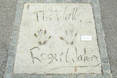 Olympic Park in Munich. MUNICH, GERMANY - MAY 6, 2017 : A view of Roger Waters handprints and signature in concrete at the Munich Olympic Walk Of Stars in Stock Images