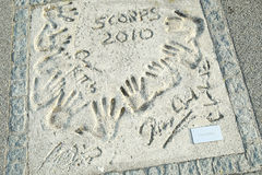 Olympic Park in Munich. MUNICH, GERMANY - MAY 6, 2017 : A view of the Scorpions group members handprints and signature in concrete at the Munich Olympic Walk Of Stock Images