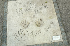 Olympic Park in Munich. MUNICH, GERMANY - MAY 6, 2017 : A view of Shania Twain handprints and signature in concrete at the Munich Olympic Walk Of Stars in Stock Photos