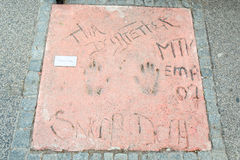 Olympic Park in Munich. MUNICH, GERMANY - MAY 6, 2017 : A view of Snoop Dogg handprints and signature in concrete at the Munich Olympic Walk Of Stars in Olympic Stock Image