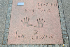 Olympic Park in Munich. MUNICH, GERMANY - MAY 6, 2017 : A view of Zucchero handprints and signature in concrete at the Munich Olympic Walk Of Stars in Olympic Royalty Free Stock Photo