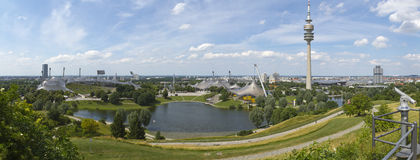 Olympic park of Munich. High resolution panorama of the Olympic park of Munich on a beautiful summer day Royalty Free Stock Image