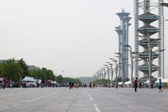 The Olympic Park Observation Tower is part of the Olympic Green in the Chaoyang District of Beijing. royalty free stock image
