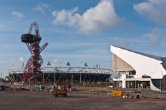 Olympic Park with Orbit Tower and Stadium. The Orbit Tower, Aquatic Centre and Olympic Stadium being prepared for The 2012 Olympic Games which will be held in Stock Images